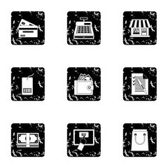 Shopping icons set. Grunge illustration of 9 shopping vector icons for web