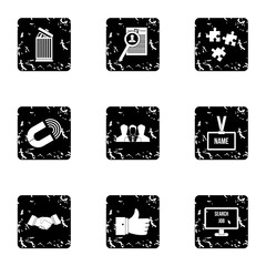 Team icons set. Grunge illustration of 9 team vector icons for web
