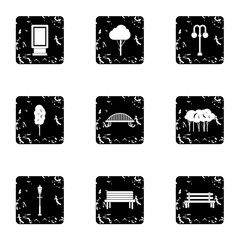 Park equipment icons set. Grunge illustration of 9 park equipment vector icons for web