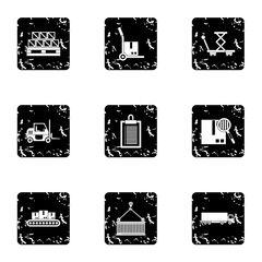 Store icons set. Grunge illustration of 9 store vector icons for web