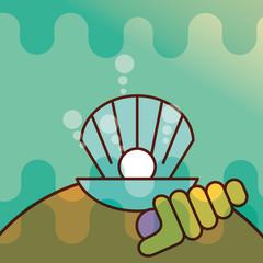 clam shell sea life cartoon vector illustration