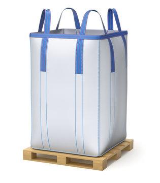 Big bulk bag on wooden pallet