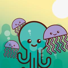 octupus jellyfish sea life cartoon vector illustration