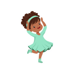 Cute african american little girl dancing in light blue dress vector Illustration on a white background