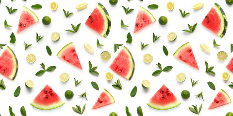 Creative seamless pattern flat layout of watermelon,  lemon, lime and mint isolated on white background. Top view. Concept healthy eating, summer, refreshing drinks.