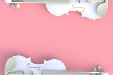 Top view of classical white violin isolated on pink background, String instrument, 3d rendering