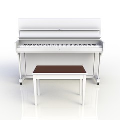 Front view of classic musical instrument white piano isolated on white background, Keyboard instrument, 3d rendering
