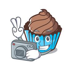 Photographer chocolate cupcake mascot cartoon