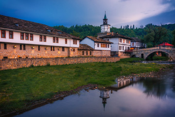 Beautiful view of the Clock tower and the old town in the architectural traditional complex in Tryavna, Bulgaria