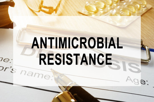 Antimicrobial resistance AMR concept. Desk in a hospital.