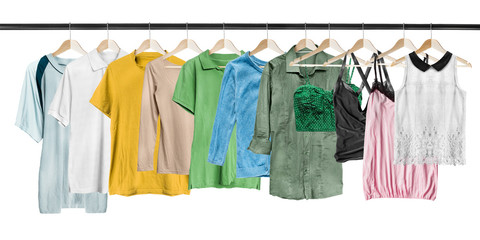 Hanging shirts isolated