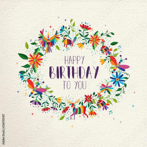 Happy Birthday Spring Flower Wreath Greeting Card Stockfotos Und