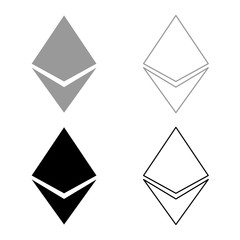 Etherium icon set grey black color