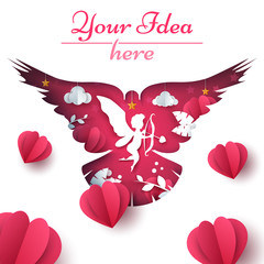 Cupid, dove, heart love illustration Vector eps 10