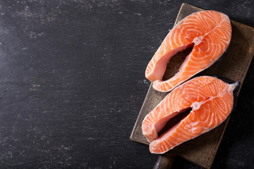 fresh salmon steaks, top view