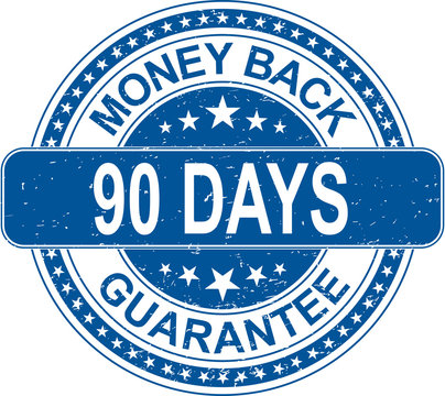 blue money back 90 days guarantee rubber stamp internet sign on white background