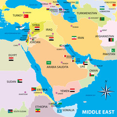 Middle east map with borders and flags
