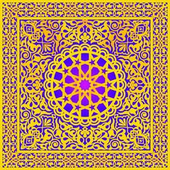 Moroccan Pattern Designer Gold Frame for Cover Brochure Wedding Card Carpet Screen Carving Square