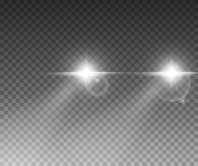 Cars light effect. White glow car headlight bright beams ray isolated on transparent background