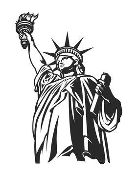 Monochrome American Statue of Liberty concept