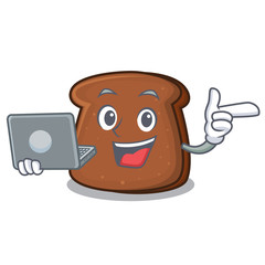 With laptop brown bread character cartoon