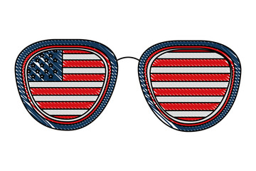 american flag in glasses accessory vector illustration
