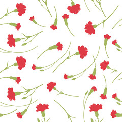 Seamless carnation flowers pattern on white background.