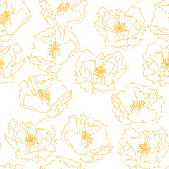 Big poppies flowers . Floral vector seamless pattern with hand drawn  flowers.