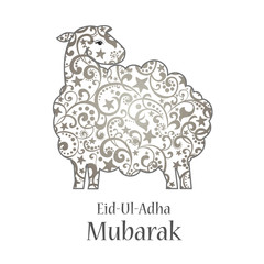 Greeting card template for Muslim Community Festival of sacrifice Eid-Ul-Adha with sheep. Vector Illustration