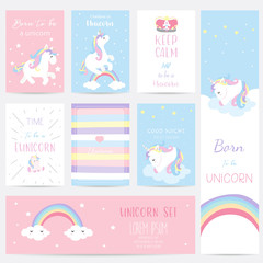 Hand drawn cute card with unicorn, heart, crown, rainbow and star