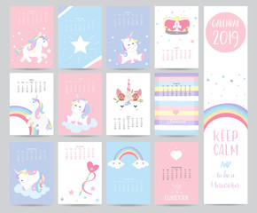 Cute monthly calendar 2019 with sweet unicorn,crown,heart and wreath for children.Can be used for web,banner,poster,label and printable