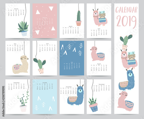 Cute Monthly Calendar 2019 With Llama Luggage Cactus Geometrical For