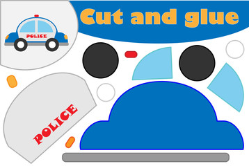 Police car in cartoon style, education game for the development of preschool children, use scissors and glue to create the applique, cut parts of the image and glue on the paper, vector illustration