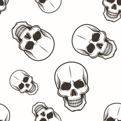 Human skull vector seamless pattern black on white