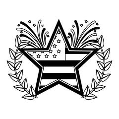 american flag in star with fireworks emblem vector illustration