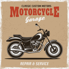 Motorcycle vintage poster with headline text