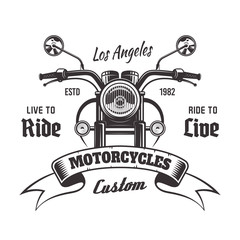 Motorcycle front view vector vintage emblem