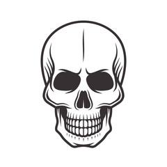 Human skull monochrome style vector illustration