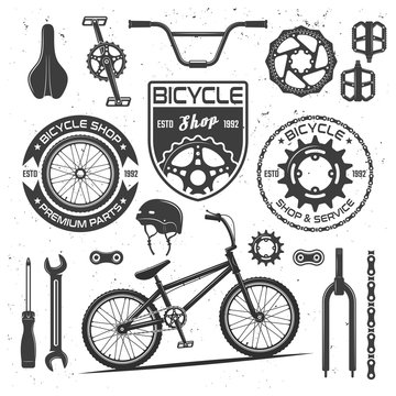 Bicycle vector black elements, badges, labels