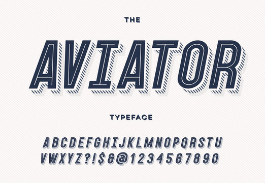 Aviator trendy typeface. Font modern typography sans serif style for party poster, printing on fabric, t shirt, promotion, decoration, stamp, label, special offer. Cool trendy alphabet. Vector 10 eps