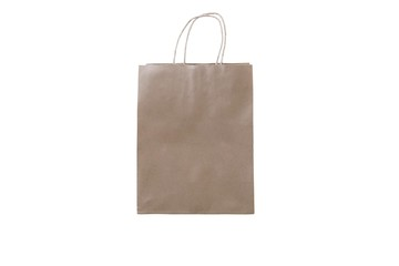 Empty shopping bag on background for advertising and branding. Paper package isolated for corporate identity design. Mockup shopping bag.
