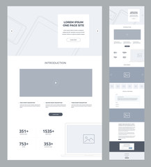 One page website design template for business. Landing page wireframe. Flat modern responsive design. Ux ui website: home, features, explore, introduction, potential, blog, works, questions, contacts.