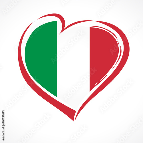 Love Italy Heart Emblem National Flag Colored Flag Of Italy With