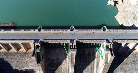 Water reservoir and hydroelectric power generating station aerial view
