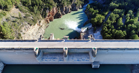 Water reservoir and hydroelectric power generating station top view