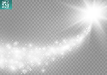 Vector white sparkling falling star. Stardust trail.