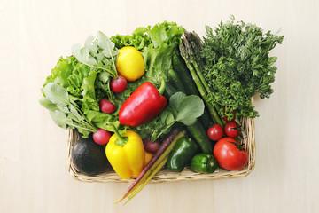 Printed roller blinds Vegetables 野菜の集合 Set of different vegetables in wicker basket