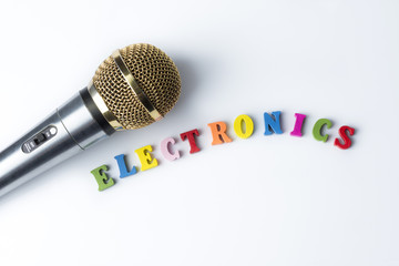 Microphone on a white background, close-up