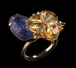 Gold ring with yellow and blue natural gemstones and diamonds