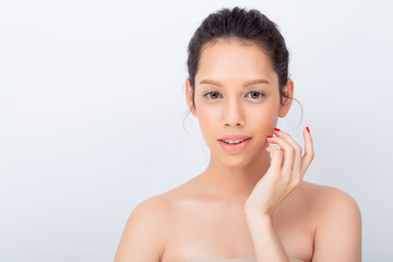 Beauty young model woman face with Soft Skin and Professional Facial Makeup. Fashion makeup and cosmetics with copy space on white background